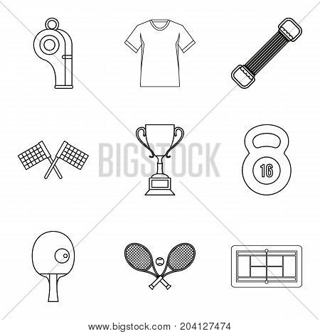 Regalia of winner icons set. Outline set of 9 regalia of winner vector icons for web isolated on white background