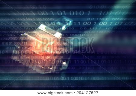 connect to internet computer cable on binary numbers background.