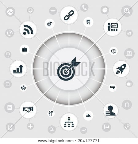 Elements Literature, Accomplishmeent, Rocket And Other Synonyms Bookmark, Target And Time.  Vector Illustration Set Of Simple Strategy Icons.