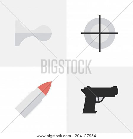 Elements Sniper, Weapon, Hunting And Other Synonyms Goal, Deer And Sniper.  Vector Illustration Set Of Simple Crime Icons.