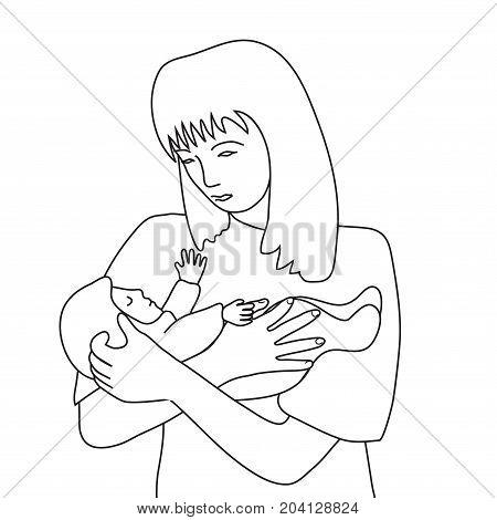 Woman torso and small baby line art