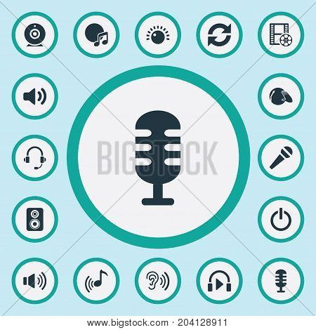 Elements Cinema, Karaoke, Disco And Other Synonyms Ear, Karaoke And Microphone.  Vector Illustration Set Of Simple Dj Icons.