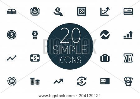 Elements Growth, Atm, Strongbox And Other Synonyms Award, Analytics And Refresh.  Vector Illustration Set Of Simple Banking Icons.