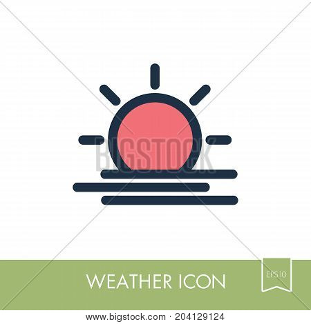 Sun Heat outline icon. Meteorology. Weather. Vector illustration eps 10