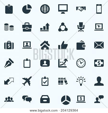 Elements Monitor, Display, Progress And Other Synonyms Thumb, Up And Wallet.  Vector Illustration Set Of Simple Trade Icons.