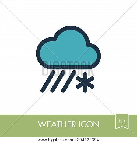 Cloud with Snow and Rain outline icon. Meteorology. Weather. Vector illustration eps 10