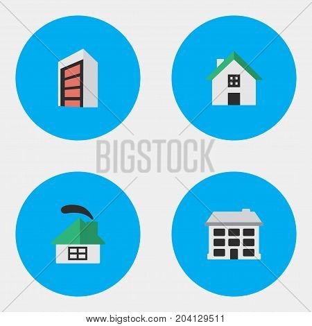 Elements Construction, Home, Dwelling And Other Synonyms Building, Home And House.  Vector Illustration Set Of Simple Estate Icons.