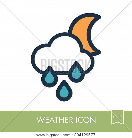 Rain Cloud Moon outline icon. Sleep night dreams symbol. Meteorology. Weather. Vector illustration eps 10