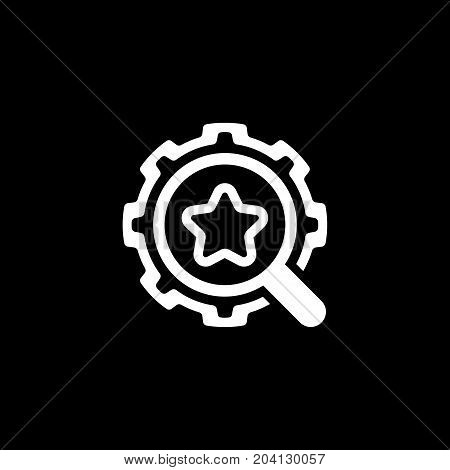 Search Optimization Icon. Flat Design. Isolated Illustration. App Symbol or UI element. Gear with Magnifying Glass.