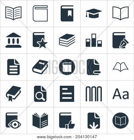 Elements Sketchbook, Letter, Row And Other Synonyms Diary, Catalog And Text.  Vector Illustration Set Of Simple Education Icons.
