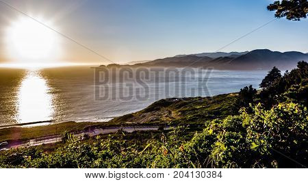 Baker Beach And Golden Gate Bay At Sunset In California
