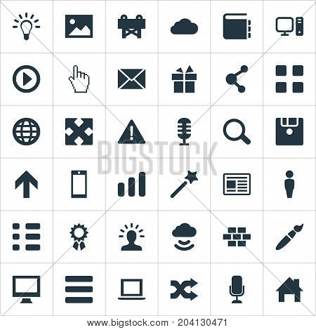 Elements Wizard Stick, Randomize, Monitor Synonyms Shuffle, Microphone And Navigation.  Vector Illustration Set Of Simple Design Icons.