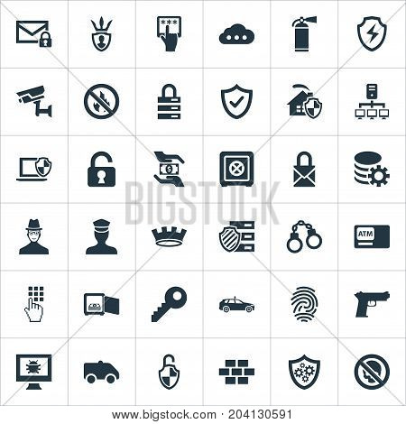 Elements Storage, Confidence, Strongbox And Other Synonyms Finger, Shackle And Police.  Vector Illustration Set Of Simple Security Icons.