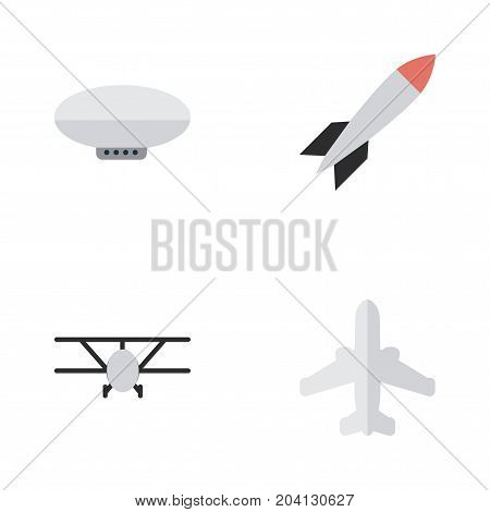 Elements Balloons, Airplane, Airliner And Other Synonyms Rocket, Aircraft And Craft.  Vector Illustration Set Of Simple Airplane Icons.