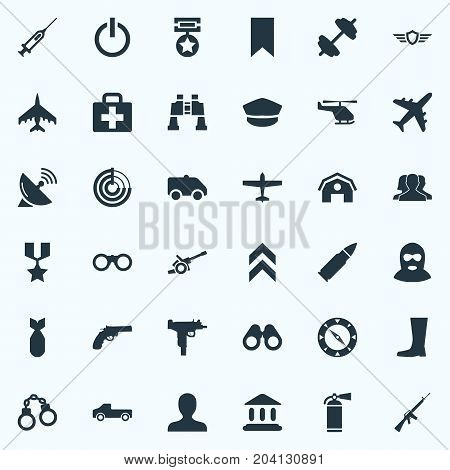 Elements Shield, Hero Reward, Telescope And Other Synonyms Telescope, Emblem And Detector.  Vector Illustration Set Of Simple Military Icons.