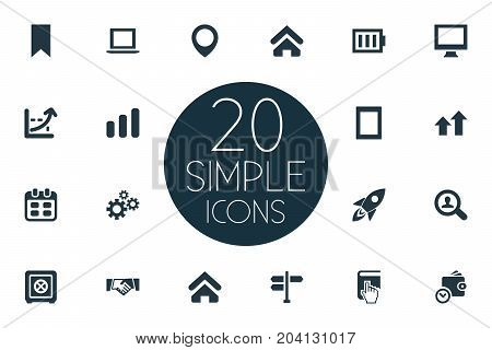 Elements Pennant, Selection, House And Other Synonyms Arrow, Spaceship And Pointer.  Vector Illustration Set Of Simple Entrepreneurship Icons.