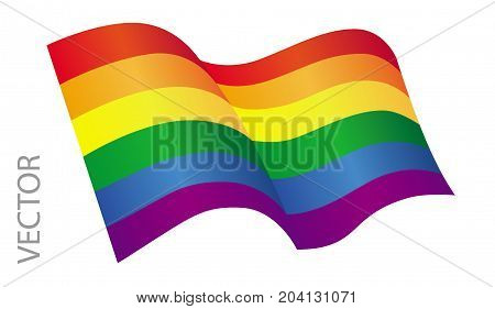 Vector illustration of a LGBT flag on a white background