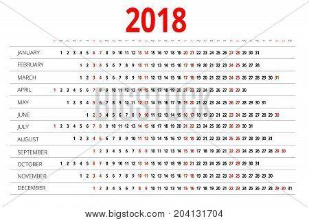 2018 calendar. Print Template. Week Starts Sunday. Portrait Orientation. Set of 12 Months. Planner for 2018 Year