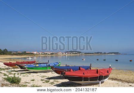 Arousa Island boats on the beach Bao Norte Pontevedra province Galicia Spain