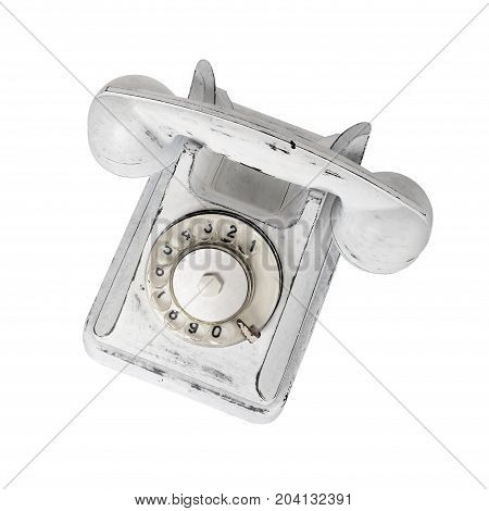Peel white vintage phone on a white background. It is isolated the worker of paths is present