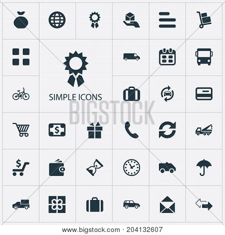 Elements Present, Holdall, Opposite Directions And Other Synonyms Globe, Airport And Restart.  Vector Illustration Set Of Simple Delivery Icons.