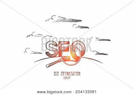 Seo optimization concept. Hand drawn search engine optimization letters. Text seo isolated vector illustration.