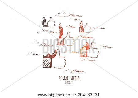 Social media concept. Hand drawn symbols of likes and persons on them. Communication through internet isolated vector illustration.