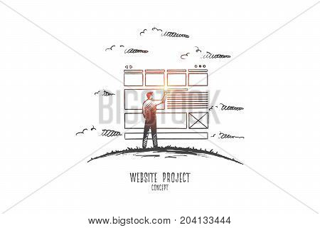Website project concept. Hand drawn man developing website. Web programming isolated vector illustration.