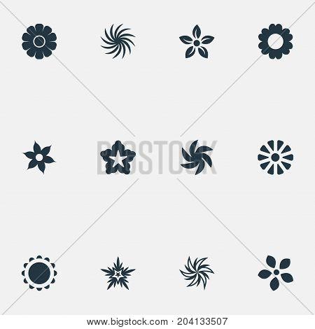 Elements Stock, Alstroemeria, Apple Blossom And Other Synonyms Dahlia, Floral And Glory.  Vector Illustration Set Of Simple Blossom Icons.
