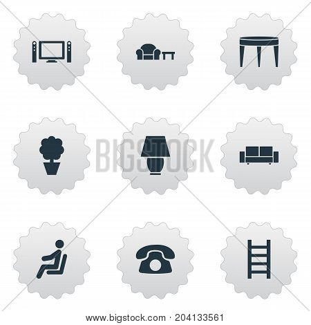 Elements Cinema System, Waiting Man, Ring Up And Other Synonyms Illuminator, Lamp And Entertainment.  Vector Illustration Set Of Simple Furnishings Icons.