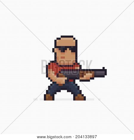 Pixel art male character with black sunglasses holding a shotgun, isolated on white background