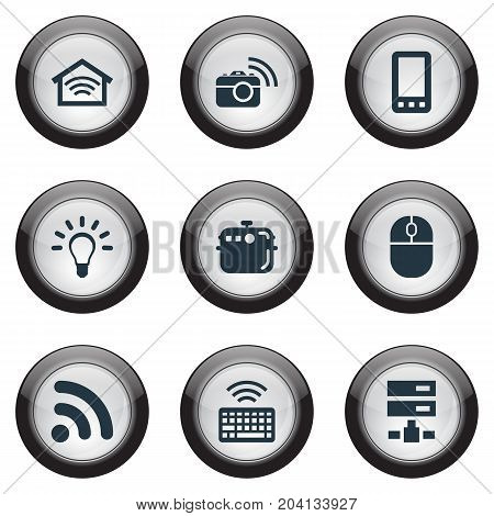 Elements Bulb, Keypad, Network And Other Synonyms Mouse, Smart And Keypad.  Vector Illustration Set Of Simple Device Icons.
