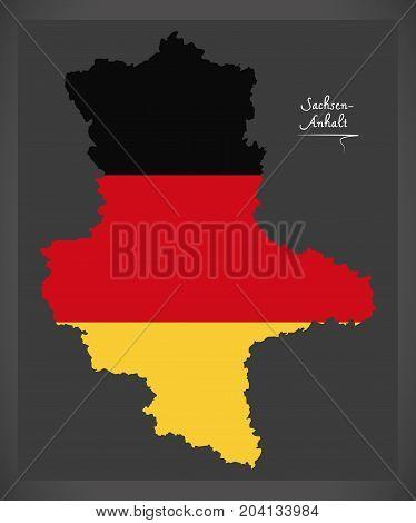 Sachsen-anhalt Map Of Germany With German National Flag Illustration