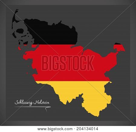 Schleswig-holstein Map Of Germany With German National Flag Illustration