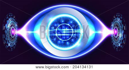 Digital technology background, digital eye, futuristic technology business. Illustration vector