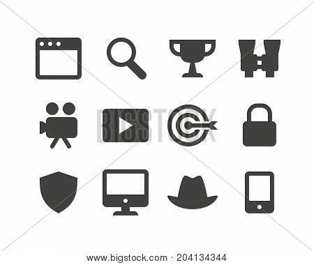 Set of sixteen glyph internet, media and seo icons