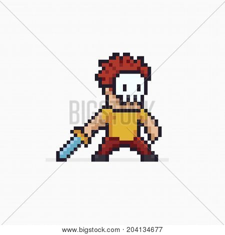 Pixel art red haired warrior in skeleton mask with sword