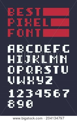 8-bit retro latin alphabet letters, numbers and best pixel font text