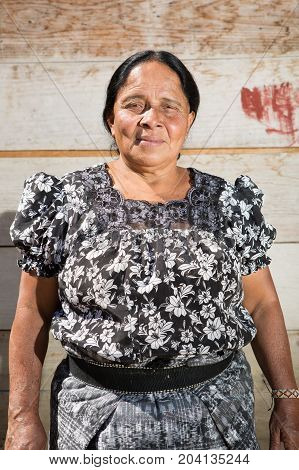 February 4 2015 San Pedro la Laguna Guatemala: portrait of a Maya woman in the small indigenous town