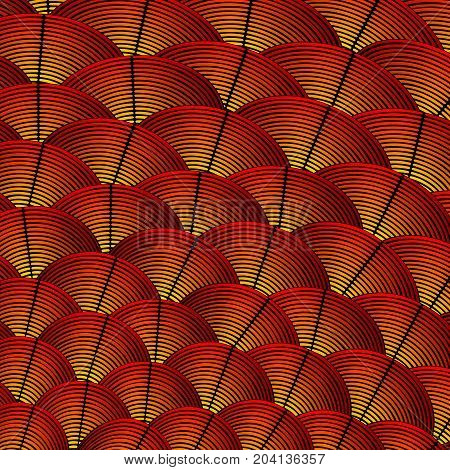Feather styled background with curved lines styled as exotic bird plumage
