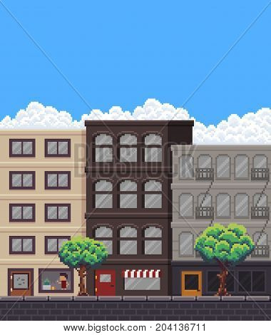 Pixel art street with buildings, stores, trees and sky with clouds
