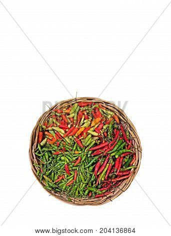 Bird Eye Chili in Wicker Basket Isolated on White Background Clipping Path