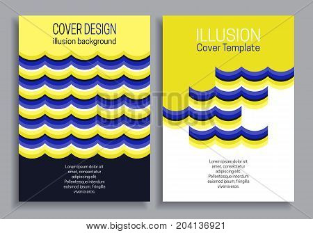 Blue yellow book cover templates with optical motion illusion design.