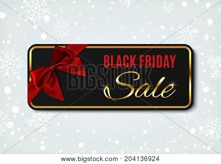 Black Friday sale banner with red ribbon and bow, on winter background with snow and snowflakes.Design template for brochure or banner. Vector illustration.