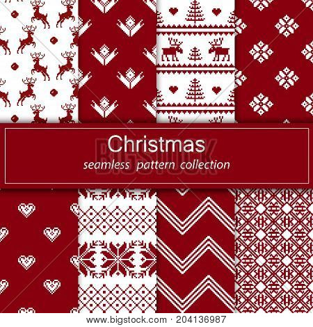 Set of seamless fabric.Merry Christmas and happy New year.The occasion. Pixels. White and red color. Background gift wrapping design pattern ornament background website. Stock vector