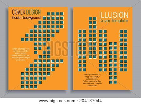 Orange blue brochure cover templates with optical motion illusion design.