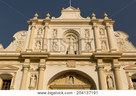 February 8 2015 Antigua Guatemala: facade of a colonial building in the popular tourist town
