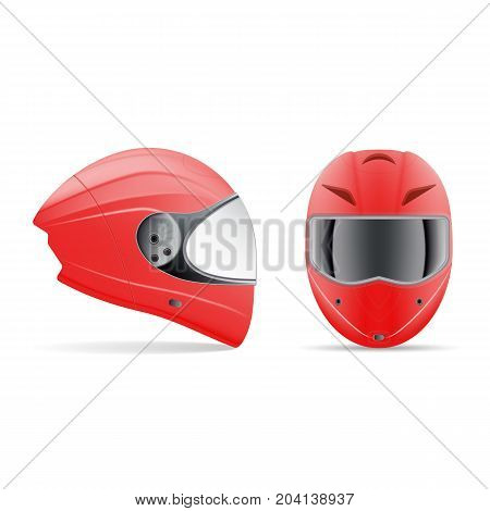 High Quality Red Motorcycle Helmet. Front And Side View Isolated On A White Background. Vector Illustration. Sport Concept