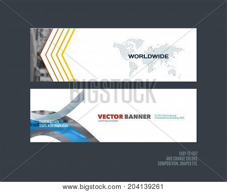 Abstract vector set of modern horizontal website banners with many colourful rectangles, abstract lines for construction, teamwork, tech, communication. Clean web headers design with overlay effect.