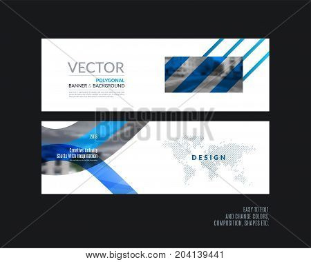 Abstract vector set of modern horizontal website banners with many blue rectangles, abstract lines for construction, teamwork, tech, communication. Clean web headers design with overlay effect.